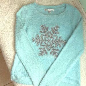 Lauren Conrad snowflake tinsel sweater